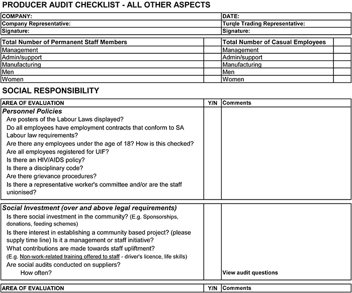 internal audit form template – Audit Checklist Template
