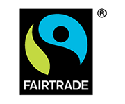 Logo of Fairtrade International on Turqle Trading's web page footer.
