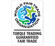 WFTO Gauranteed Fair Trade logo on the Turqle Trading's web page footer.